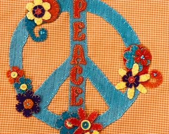 Peace, Love & Stitch block 1 wool applique kit