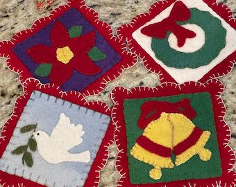 Christmas Coasters wool applique kit set of 4