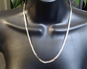 Vintage Braided Sterling Necklace & Bracelet Set.