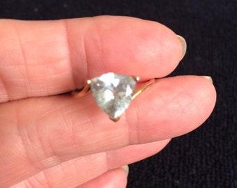 10k Gold Aquamarine Trident Ring