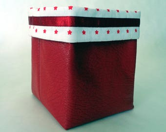 Red faux leather chic basket
