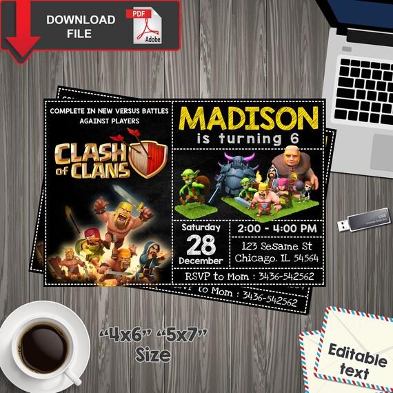 Clash Of Clans Invitation Clash Of Clans Birthday Clash Of Etsy
