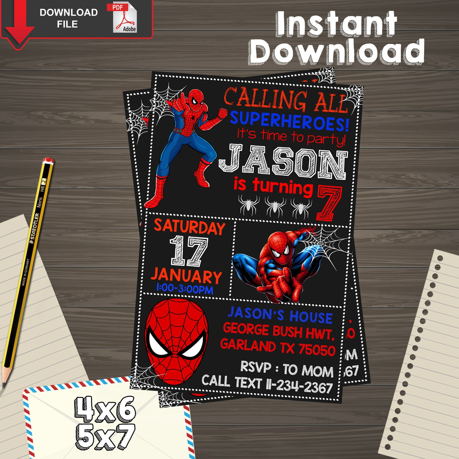 This is a graphic of Crafty Printable Spiderman Invitations