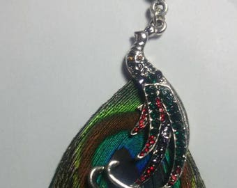 Large pendant silver metal Peacock feather Peacock and rhinestone