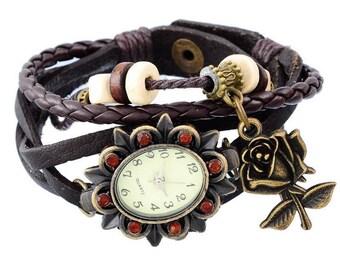 Wristwatch Quartz Pelres braided rhinestone flower fashion woman 21cm