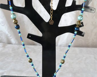 Necklace blue bronze pearls and Golden 50.5 cm