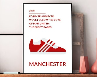 Manchester United FC City Printable Poster - Wall Art Typography Print Poster, Minimalist Poster, Football Poster, Soccer Poster, Download