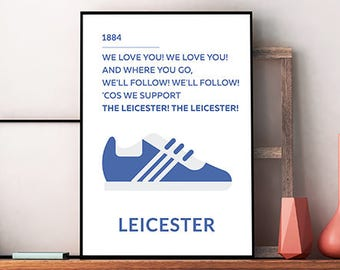 Leicester City Printable Poster - Wall Art Typography Print Poster, Minimalist Poster, Football Poster, Soccer Poster, Instant download