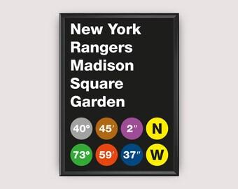 New York Rangers Stadium Coordinates Printable Poster