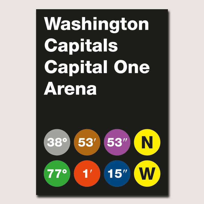graphic about Washington Capitals Schedule Printable known as Washington Capitals Stadium Coordinates Printable Poster - Wall Artwork Typography Print Poster, Minimalist Poster, Hockey Poster, NHL, Obtain