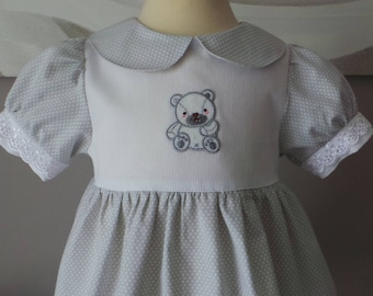 dress 12 months in light gray cotton with white dots