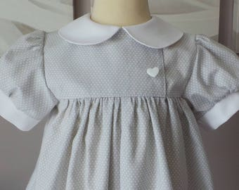 romper 12 months in light gray cotton with white polka dots