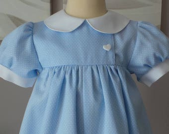 romper 12 months in light blue cotton with white polka dots