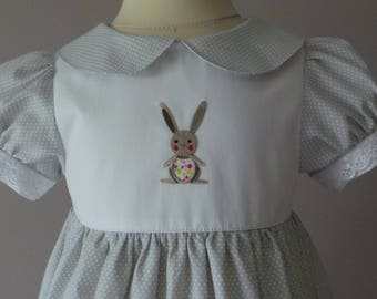 dress 18 months in light gray cotton with white dots