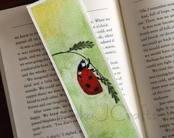 ORIGINAL watercolor bookmark, ladybug ladybird bookmark, watercolor bookmark
