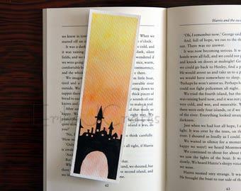 ORIGINAL watercolor bookmark, town silhouette, watercolor bookmark
