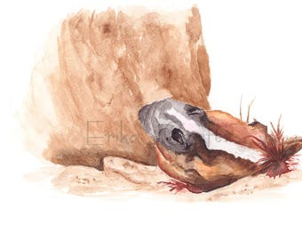 Brown horse rolling in the sand watercolor painting, watercolor print, horse painting, home decor, art