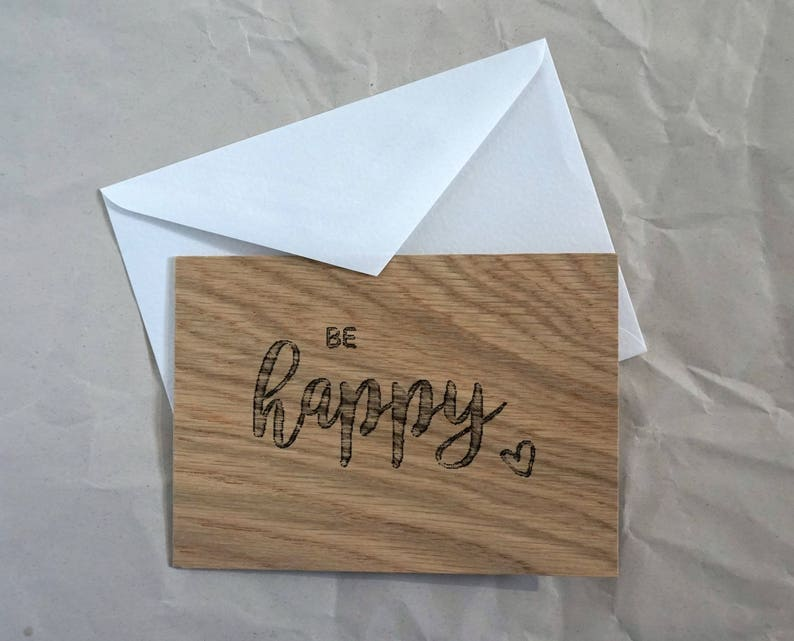 Wooden Greeting card Be Happy send Greetings image 0