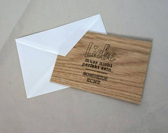 Wooden greeting card, wooden ticket, love, card