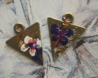 Flower and butterfly... Copper charms, creation of earrings, handmade.