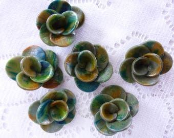 CREATING JEWELRY CLAY SHADES BROWN GREEN FLOWERS