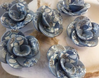SOFT BLUE POLYMER CLAY FLOWERS