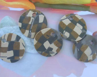 SET of 5 polymer clay CABOCHONS