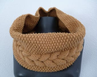 snood neck hand knitted wool
