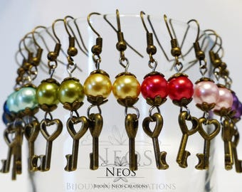 The little keys - Steampunk and pirate costume earrings