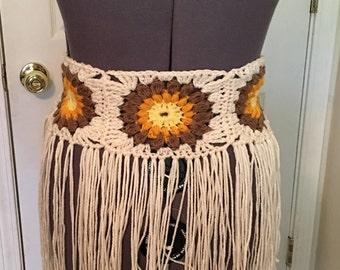 Sunburst crochet hip belt