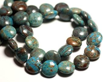 Perles Nacre noire naturelle Carrés 12mm Fil 39cm 31pc env
