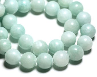 4pc - stone beads - Jade balls 14mm Green Turquoise - 4558550093172 clear