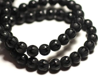 Onyx Noir Mat Sablé Boules 10mm   4558550028396 10pc Perles de Pierre