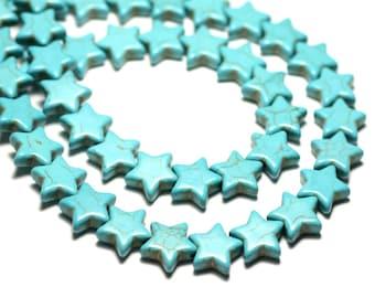 6pc Perles Turquoise Synthèse reconstituée grandes Étoiles 25mm Blanc crème