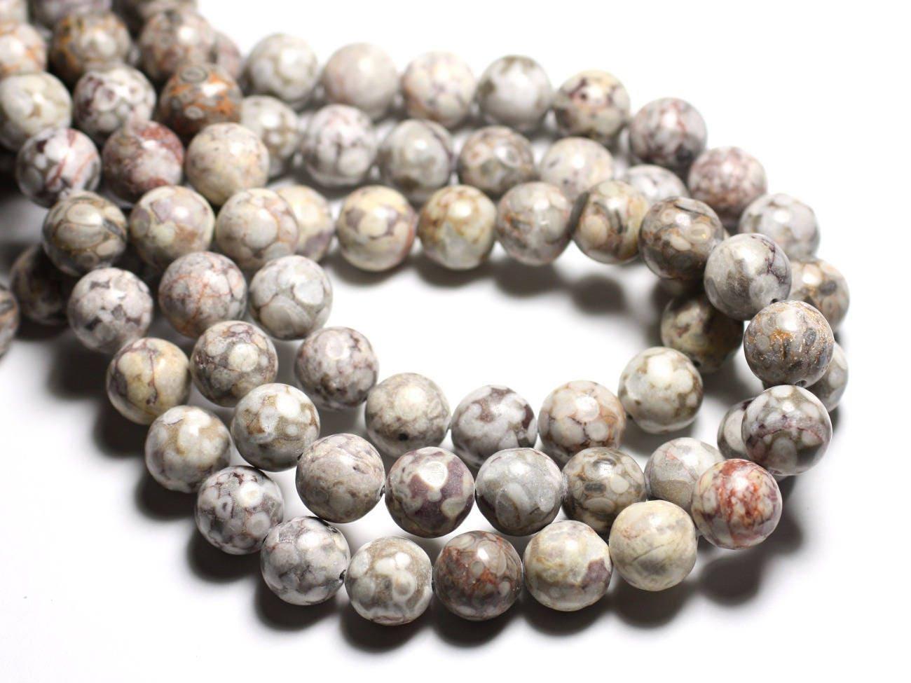 Jaspe Leopard 4mm Balls Wire 39cm env 90pc Pearls of Stone