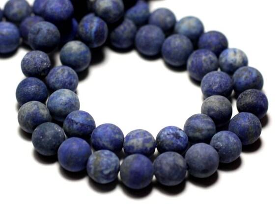 Fil 39cm 46pc env Howlite Mat givré Boules 8mm Perles de Pierre