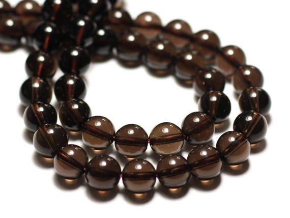 Perles de Pierre Tourmaline noire Boules 10mm Fil 39cm 37pc env