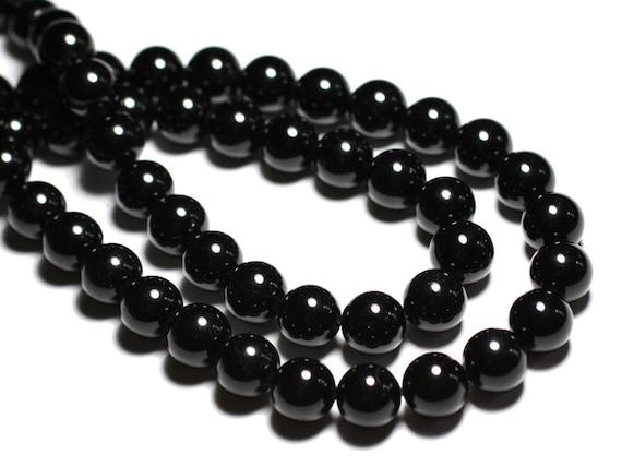 Fil 39cm 48pc env Perles de Pierre Lave noire Boules 8mm