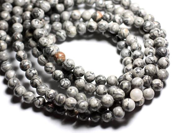 Pierre de Soleil Synthèse Boules 6mm 1 Fil 39cm Perles de Pierre