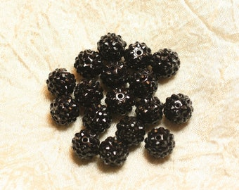 5pc - pearls Shamballas resin black 4558550026392 14x12mm