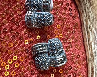 Judith Jack marcasite sterling silver clip on earrings.