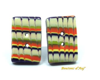 2 fancy sewing buttons. Buttons color bright rectangular 3 cm x 2 cm. Handmade polymer clay.
