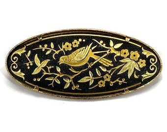 Vintage Toledoware Damascene Style Brass Umbrella Shaped Brooch  Gift for Her and Best Friend