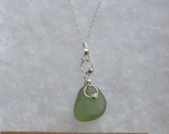 Sterling silver necklace with sea glass pendant