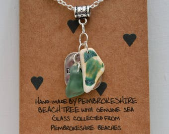 Silver necklace with sea glass and sea pottery pendant