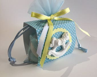 Heavenly and yellow favor bag with rocking horse baptism Bimbo