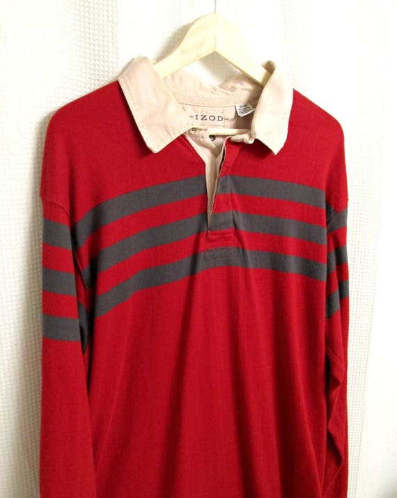 Vintage rugby shirt - red Izod rugby polo, men's X-large in excellent condition, 90s