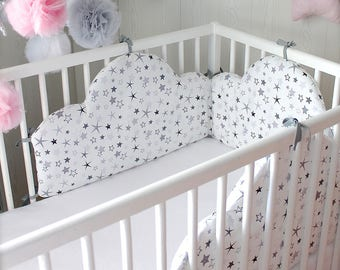 Baby cot bumper for 60cm wide bed, cloud white, grey and black
