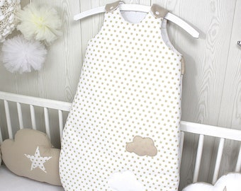 Baby sleeping bag, white with beige stars