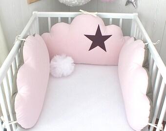 Tour de lit bébé 60cm large nuages 3 grands coussins roses | Etsy